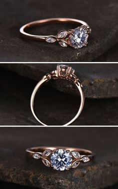 Sterling silver ring/Round cut Cubic Zirconia engagement ring/CZ wedding ring/Three flower marquise/promise ring/Xmas gift/Rose gold plated #affiliate #weddings #rings #weddingring Engagement Rings Oplysninger om vores hjemmeside