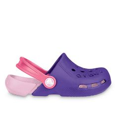 Take a look at this Ultraviolet & Bubble Gum Electro Clog by Crocs Kids on #zulily today!