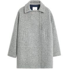 Mango Pockets Wool Coat , Medium Grey (€52) ❤ liked on Polyvore featuring outerwear, coats, jackets, coats & jackets, tops, medium grey, gray coat, gray wool coat, grey wool coat and woolen coat