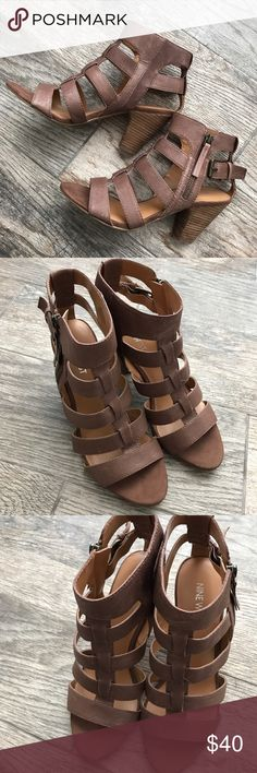 Nine West 'Cindy Lou' Strappy Zip Up Heels Nine West 'Cindy Lou' Strappy Zip Up Heels - Size 7.5 -!Great used condition! Nine West Shoes Heels
