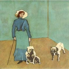 1921 Lady with bulldogs Canvas Art - KA Reichel.