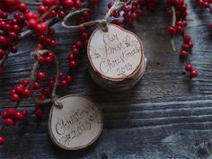 my favorite wood burned calligraphy ornaments ($9.50-$13) Fir + Forest on Etsy, use code TAKEHEART for 10% off!
