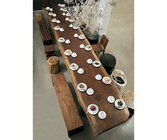 Dream dinning room table Wood Slab Dining Table, Dining Room Table, Wood Tables, Table Bench, Table Seating, Long Wood Table, Kitchen Tables, Plank Table, Bar Tables
