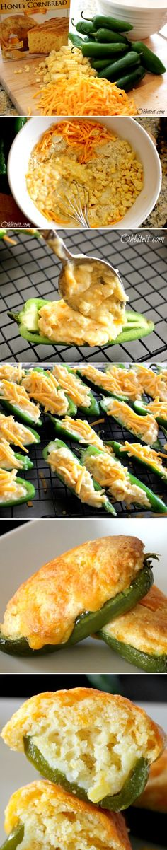 Easy Cornbread Jalapeño Poppers: great Superbowl snack or serve w chili or BBQ. Something Alex would eat . Food For Thought, Think Food, I Love Food, Good Food, Yummy Food, Tasty, Yummy Appetizers, Appetizer Recipes, Aperitivos Finger Food
