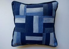 Rail Fence recycled denim pillow cover by Wise Craft Handmade