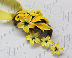 Floral pendant necklace bright yellow chocolate brown lily flowers. Unique designer polymer clay floral jewelry. Handmade necklace.
