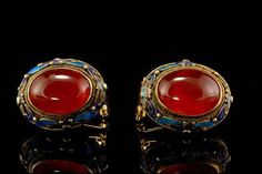 Antique Chinese Carnelian Cabochon Enamel by SummitTreasures