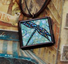 Dragonfly Pendant Necklace  Original  Handpainted  by danamarieart, $38.00
