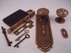 Antique Cast Steel Sargent Door Knob Set Mortise lock key #499 ...