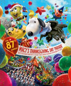 Poster for Annual Macy's Thanksgiving Day Parade (I want to go to NYC and actually see one of these! Thanksgiving Day 2018, Macys Thanksgiving Parade, One Balloon, Balloons, Balloon Flights, Snoopy Love, Favorite Holiday, Parade Floats, Trading Post