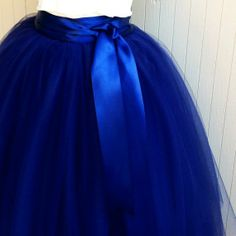 Navy blue tulle skirt tutu for women lined in black satin with a navy satin ribbon waist. Fall fashion trend.