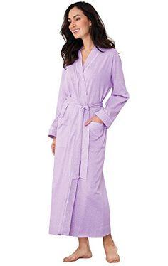 PajamaGram 100 Cotton Lavender Pin Dot Robe for Women  gt  gt  gt  Check f647e8c48