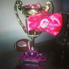 Fantasy football trophy for all girls fantasy league that I made. Got all the supplies at party city Fantasy Football Champion, Fantasy Football League, Fantasy League, Football Awards, Football Love, Football Shirts, Teacher Morale, Champion Shirt, Powder Puff