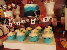Cupcakes at a Jake and the Neverland Pirates birthday party! See more party planning ideas at CatchMyParty.com!
