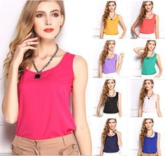2016 summer new 5 size Women fashion Chiffon tank Tops Vest Shirts solid candy 16 color camis chiffon loose top Shirt