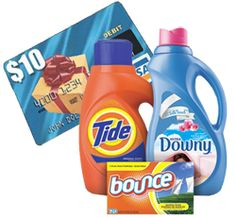 FREE $10 Visa Gift Card Mail in Rebate with $30 Tide, Bounce or Downy Products Purchase!