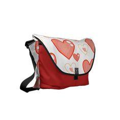 Red Multi-heart pattern messenger bag
