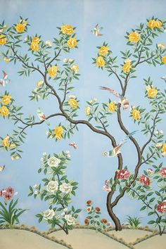 Scenic floral hand-painted Chinese paper from Gracie Studio. Gracie Wallpaper, Bird Wallpaper, Wallpaper Panels, Chinese Wallpaper, Interior Wallpaper, Wall Finishes, Botanical Flowers, Chinoiserie, Textile Design