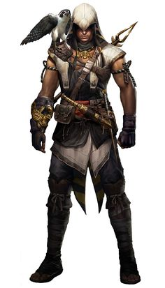 View an image titled 'Bayek Render Art' in our Assassin's Creed Origins art gallery featuring official character designs, concept art, and promo pictures. The Assassin, Arte Assassins Creed, Assassins Creed Origins, Dungeons And Dragons Characters, Dnd Characters, Fantasy Characters, Fantasy Character Design, Character Concept, Character Art