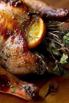 Sweet Citrus and Herb Bouquet-Stuffed Cornish Game Hens with Orange Marmalade Glaze, love cornish hens! Thanksgiving Recipes, Holiday Recipes, Dinner Recipes, Thanksgiving Sides, Turkey Recipes, Chicken Recipes, Stuffing Recipes, Carne, Gula