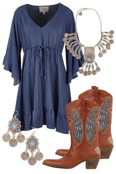 Chambray Blues Outfit includes boho bird, House Of Skye, and Boom Boots…