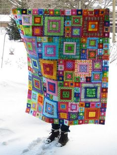 Another pinner wrote: I ❤ quilting . . . Crayon Box Quilt- I remember seeing a quilt by Kaffe Fassett where the sunlight shines through the fabric to give it a stained glass effect. ~By nancy lou quilts by Vixx