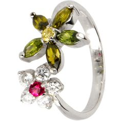 Sterling Silver 925 Cubic Zirconia FLOWER PETALS Toe Ring $17.99 #toering #beach #bodycandy