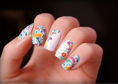 Spring flower nails by BlackStarPolish (so cute I just can't even!)