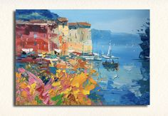 Original oil painting on canvas.  *Title: Flowers at Portofino *Size: 20x27 inch - (50x70 cm) *Style: Abstract, Modern, Contemporary *Media: Original oil panting on canvas *Signed front and back, with Certificate of Authenticity. *The painting is sold unframed. Frame on request. *Express Shipping: Fedex Carrier for shipping to U.S. and Everywhere. DHL Carrier for shipping to Europe. -Europe: 2/3 business days -USA: 2 business days -Everywhere: 3/5 days  Phone Numbers needed for cour...