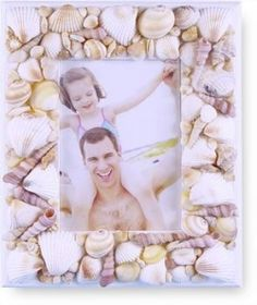Lovely home-made seashell picture frame to hold so many memories!