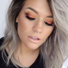 Heat things up with this stunning fiery orange look by Samantha of Batalash using Makeup Geek's Flame Thrower foiled eyeshadow.  Love the grey hair!