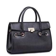 New arrivals cowhide leather women handbag Black