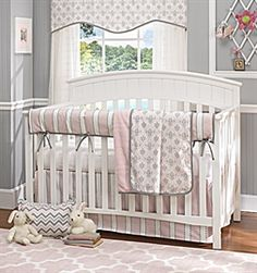 Picture of Bella Pink Baby Girl 4-pc. BeddLiz and Roo Fine Baby Bedding  Our elegant 4-pc. baby crib bedding sets include a rail cover with ties, a reversible soft minky blanket, a crib dust ruffle and a coordinating crib sheet.  All pieces are also available for individual purchase.   Liz and Roo baby crib bedding is made with love in the U.S.A., ensuring our ability to control quality, safety, and workmanship. You'll love your nursery by Liz and Roo. via BuyDirectUSA.com Like - Share…