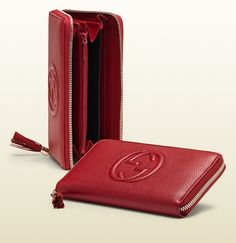 soho red leather zip around wallet