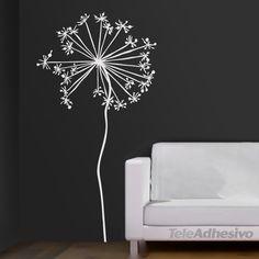 Vinilo decorativo floral de color blanco. #decoracion #teleadhesivo