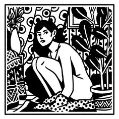 Some girls, Clément Soulmagnon Linocut Prints, Art Prints, Block Prints, Lino Art, Comics Illustration, Art Graphique, Erotic Art, Aesthetic Art, Art Inspo