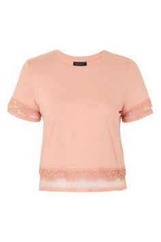 Keep your casuals looking pretty with this t-shirt featuring spot lace detail to the sleeves and hem. Weve styled with blue jeans for a day-to-day go-to look. New Outfits, Cool Outfits, Dobby, Latest Trends, Asos, Topshop, Crop Tops, Clothes For Women, Womens Fashion
