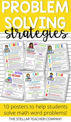 Teaching students how to effectively solve word problems is always a challenge . These math anchor charts are super helpful. They give your students 6 different problem solving strategies they can use for any word problem. Teaching Math, Teaching Ideas, Maths, Elementary Math, Upper Elementary, Math Key Words, Classroom Resources, Math Classroom, Teacher Resources