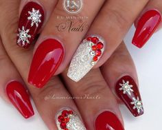 Red and Gold Christmas Acrylic Nails - Fresh Red and Gold Christmas Acrylic Nails , Red White Christmas Nails Acrylic Gel Nails Luminous Christmas Gel Nails, Christmas Nail Art Designs, Holiday Nail Art, Gold Nail Designs, Acrylic Nail Designs, Acrylic Gel, Nails Design, Red And Gold Nails, Red Nails