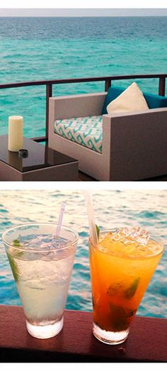 The bar at Constance Halaveli, the Maldives, offered great views and excellent food & drink!