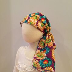 Ava Joy Pre-Tied Children's Head Scarf - Colorful Sunflowers - A Cancer, Chemo, Alopecia, Hat, Head Cover for children with hair loss.