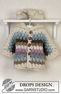 Crochet jacket, booties and blanket in Eskimo ~ free pattern, DROPS Design.