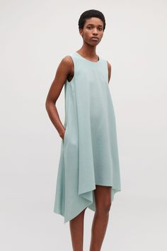 COS image 2 of Layered drape dress in Turquoise