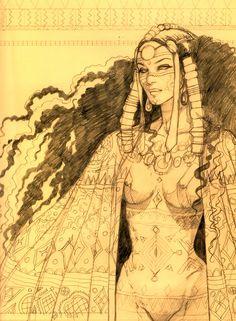 Djin by Ana Miralles Character Inspiration, Character Art, Character Design, Comic Manga, Bd Comics, Sword And Sorcery, Afro Art, Fantasy Rpg, Comic Artist