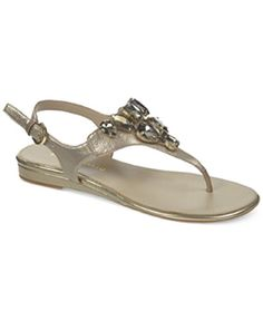 9268ed17992 Franco Sarto Womens Galileo Thong Sandals Gold Size 60 -- For more  information