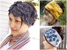 DIY Fleece Ear Warmers. Tutorials at Delia Creates here. *Many other possibilities pictured on her site. Left, clockwise: • Gray Flower Ear Warmers here. • Yellow Bow same pattern as Forget Me Nots here. • Forget Me Nots Ear Warmers here.