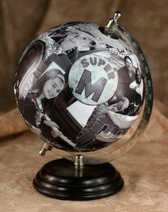 49 Lovely Diys Photo Collages Ideas - My Design Fulltimetraveler Globe Art, Globe Decor, Photo Collage Gift, Photo Collages, Globe Picture, Handmade Christmas, Christmas Ornaments, Handmade Ornaments, Globe Crafts