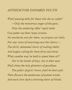 wilfred owen anthem for doomed youth