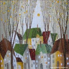 Sergey Saltykov - simple but elegant small city design - Gobelin tapestry Pin Weaving, Weaving Art, Loom Weaving, Tapestry Loom, Contemporary Tapestries, House Quilts, Weaving Textiles, Art Textile, Weaving Projects