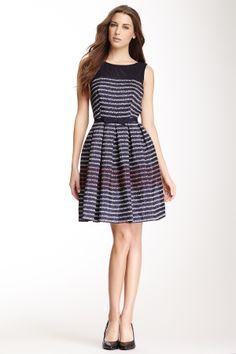 Taylor Mesh Yoke Dot Stripe Dress